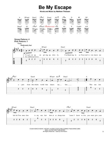 Download Be My Escape Sheet Music By Relient K Sheet Music Plus