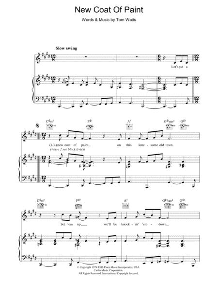 Download New Coat Of Paint Sheet Music By Tom Waits - Sheet Music Plus