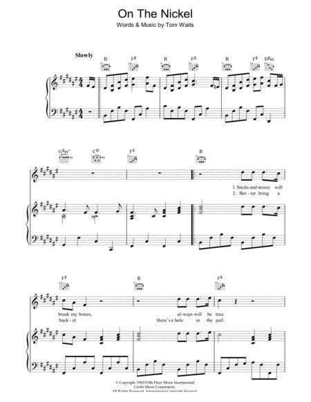 Download On The Nickel Sheet Music By Tom Waits Sheet Music Plus