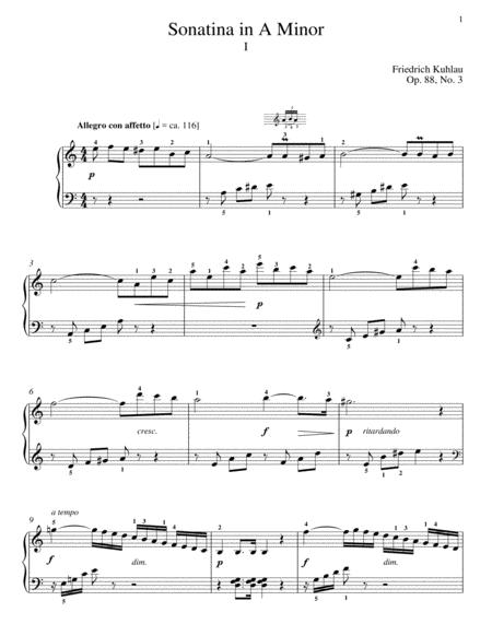 Sonatina In A Minor, Op. 88, No. 3