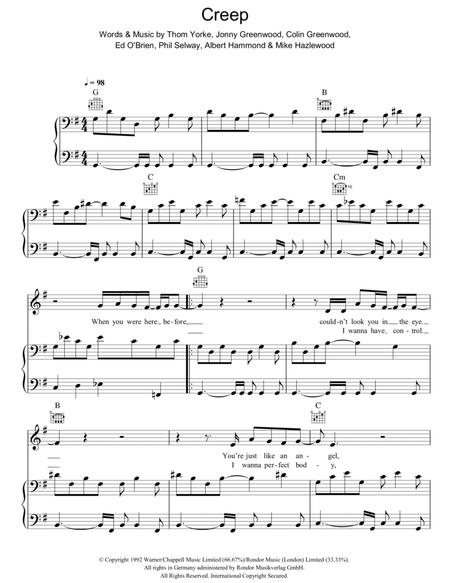 Download Creep Sheet Music By Radiohead - Sheet Music Plus