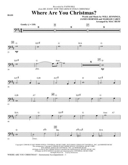 Where Are You Christmas? (arr. Mac Huff) (from How The Grinch Stole Christmas) - Bass