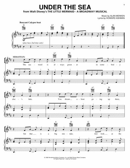 Under The Sea From The Little Mermaid A Broadway Musical By Alan Menken Glenn Slater Digital Sheet Music For Piano Vocal Guitar Download Print Hx 87780 Sheet Music Plus