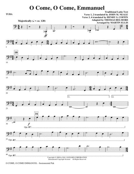 o come, o come, emmanuel - tuba by - digital sheet music for choral  instrumental pak - download & print hx.88160 | sheet music plus  sheet music plus