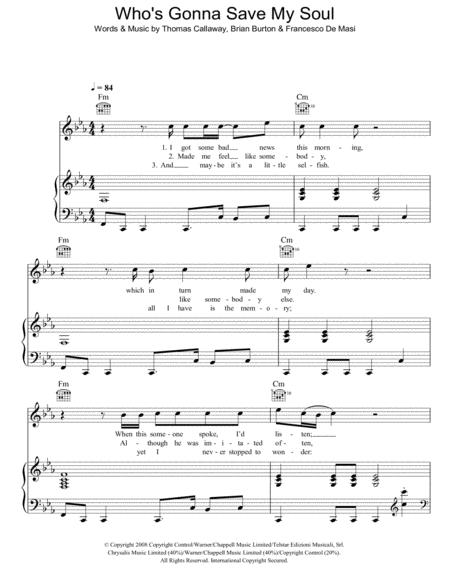 Download Whos Gonna Save My Soul Sheet Music By Gnarls Barkley