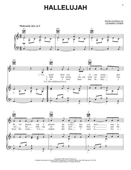 Download Hallelujah Sheet Music By Leonard Cohen Sheet Music Plus