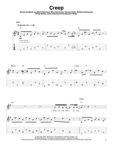 Download Creep Sheet Music By Radiohead Sheet Music Plus