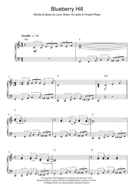 Download Blueberry Hill Sheet Music By Fats Domino Sheet Music Plus