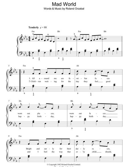 Download Mad World Sheet Music By Gary Jules - Sheet Music Plus
