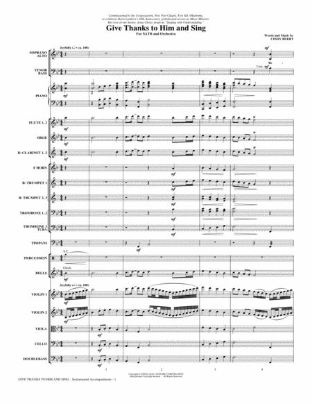 Give Thanks To Him And Sing - Full Score