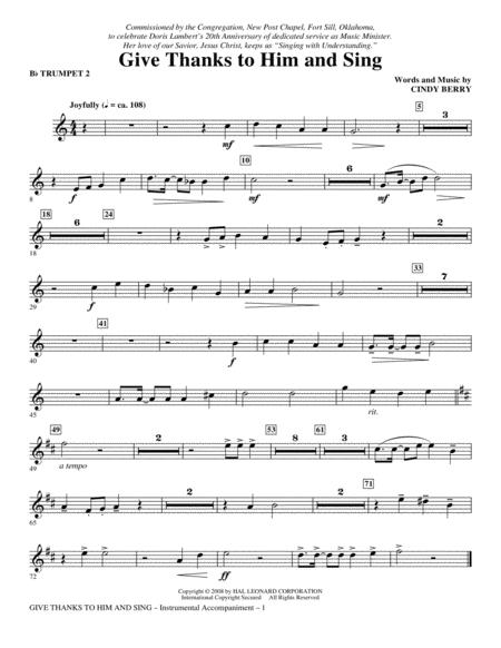 Give Thanks To Him And Sing - Bb Trumpet 2