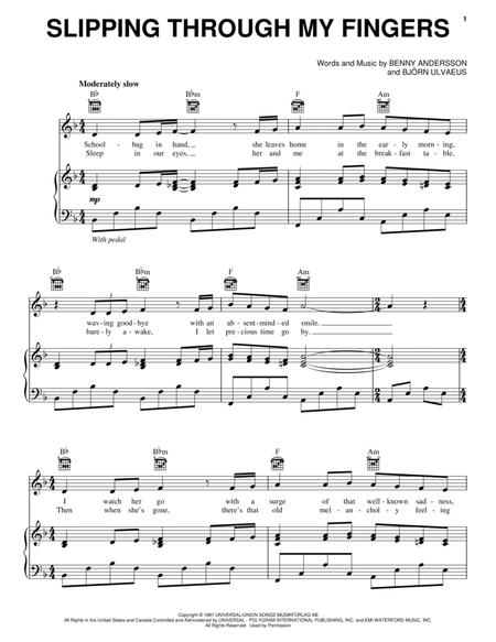 Download Slipping Through My Fingers Sheet Music By ABBA - Sheet ...