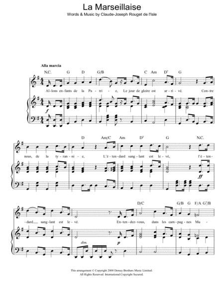 Download La Marseillaise French National Anthem Sheet Music By