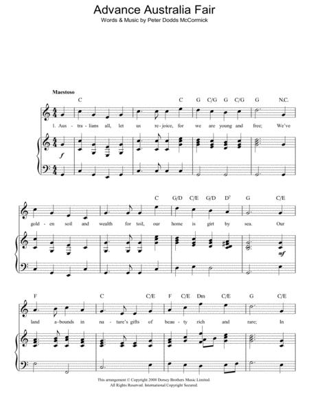 Download Advance Australia Fair (Australian National Anthem) Sheet ...