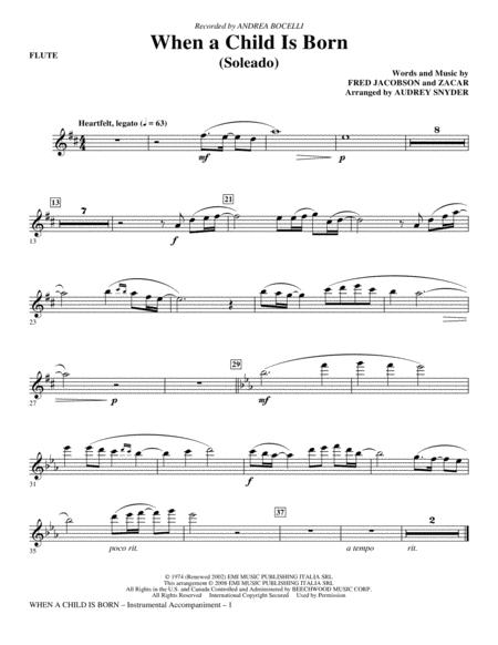 When A Child Is Born (Soleado) - Flute