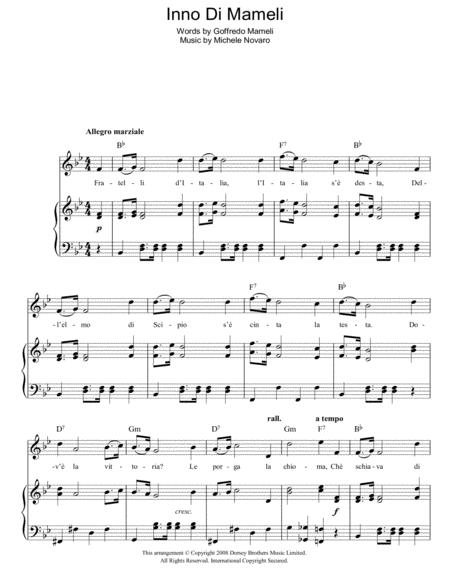 Download Inno Di Mameli Italian National Anthem Sheet Music By