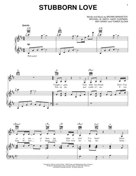 Download Stubborn Love Sheet Music By Amy Grant - Sheet Music Plus