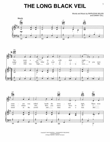 Download The Long Black Veil Sheet Music By The Band - Sheet Music Plus