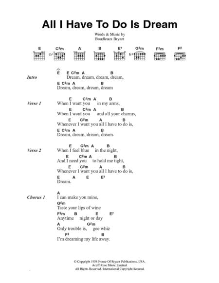 All I Have To Do Is Dream By Boudleaux Bryant Digital Sheet Music For Piano Vocal Guitar Piano Accompaniment Download Print Hx 92932 Sheet Music Plus