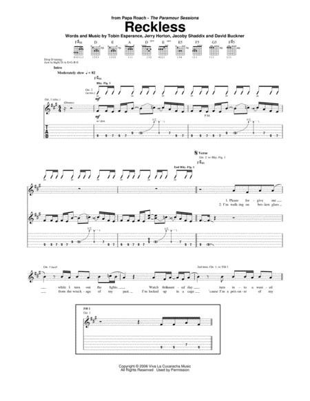 Download Reckless Sheet Music By Papa Roach - Sheet Music Plus