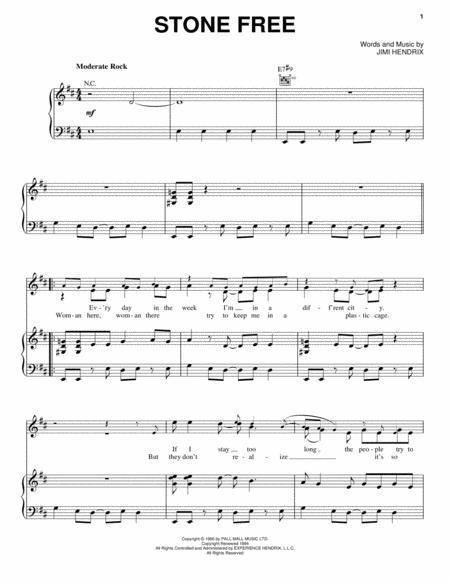 Download Stone Free Sheet Music By Jimi Hendrix Sheet Music Plus