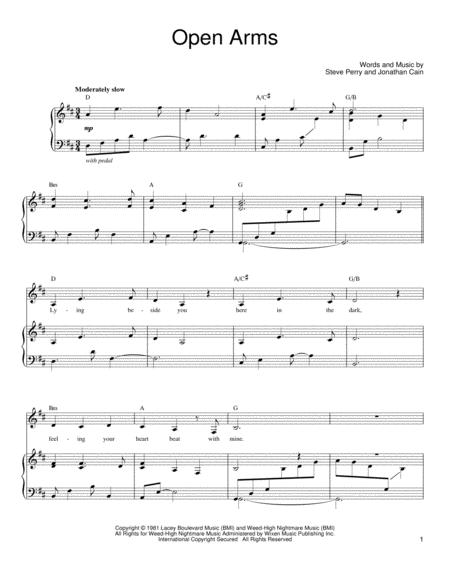 Download Open Arms Sheet Music By Journey Sheet Music Plus