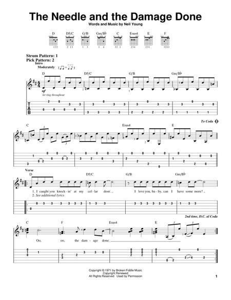 Download The Needle And The Damage Done Sheet Music By Neil Young