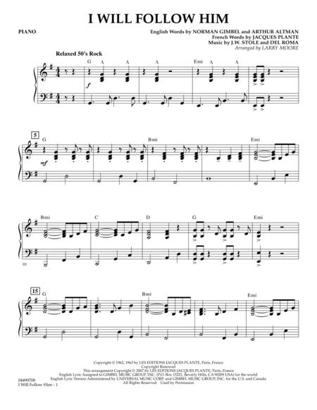 Download i will follow him piano sheet music by del roma sheet.