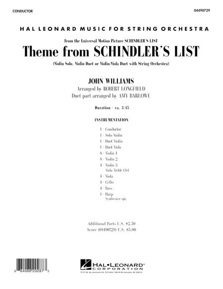 Theme from Schindler's List - Full Score
