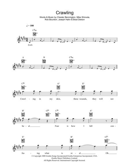 Download Crawling Sheet Music By Linkin Park - Sheet Music Plus