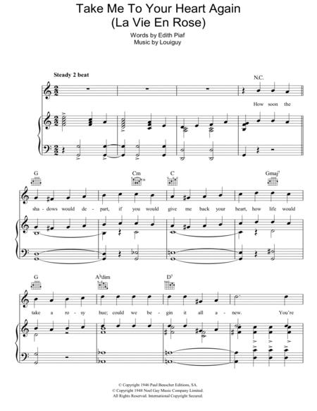 Download Take Me To Your Heart Again La Vie En Rose Sheet Music By