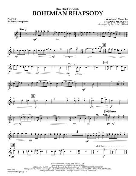 Bohemian Rhapsody - Pt.3 - Bb Tenor Saxophone