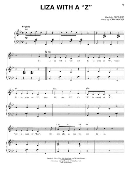 Download Liza With A Z Sheet Music By Fred Ebb Sheet Music Plus