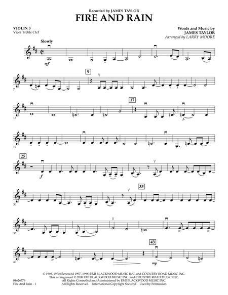 Fire and Rain - Violin 3 (Viola Treble Clef)