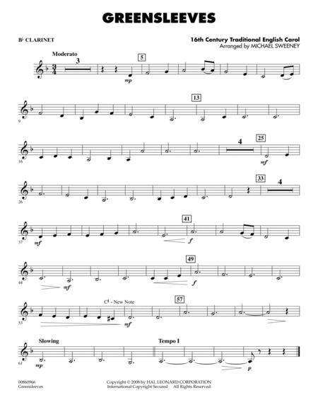 B Flat Clarinet Music For Beginners Download Greensleeves ...
