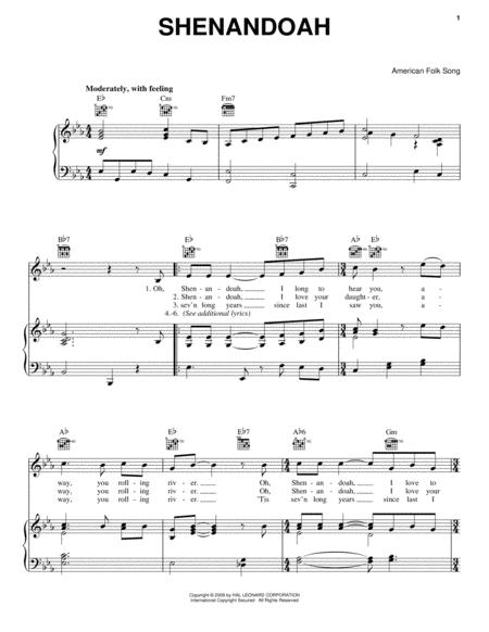 Download Shenandoah Sheet Music By American Folk Song - Sheet Music Plus