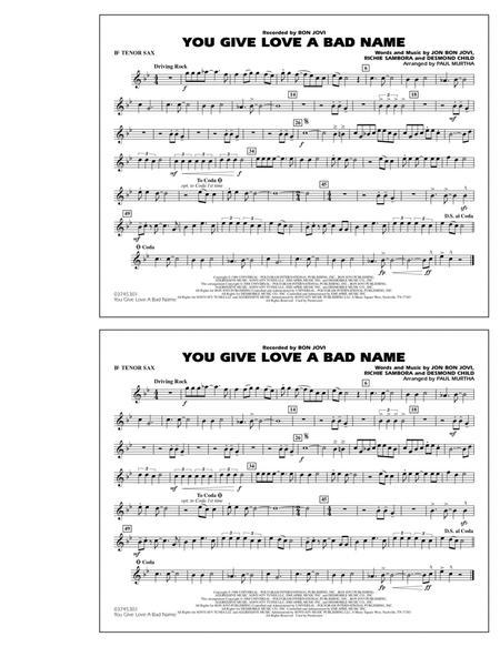You Give Love a Bad Name - Bb Tenor Sax