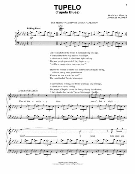 Download Tupelo (Tupelo Blues) Sheet Music By John Lee Hooker ...