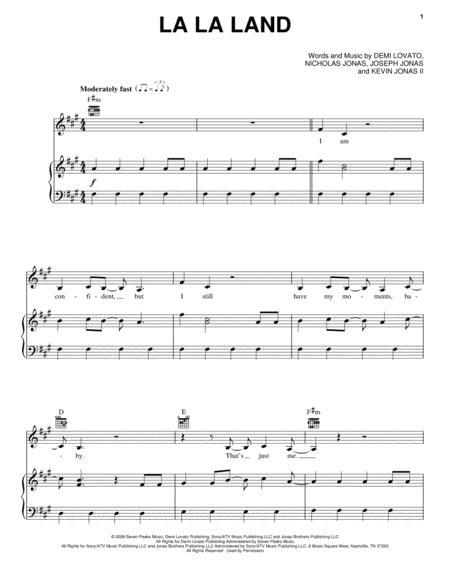Download La La Land Sheet Music By Demi Lovato - Sheet Music Plus