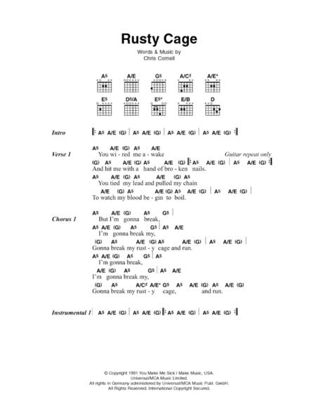 Download Rusty Cage Sheet Music By Johnny Cash - Sheet Music Plus