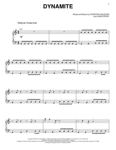 Preview Dynamite By Christina Aguilera (HX.126666) - Sheet Music Plus