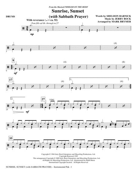 Sunrise, Sunset (with Sabbath Prayer) - Drums