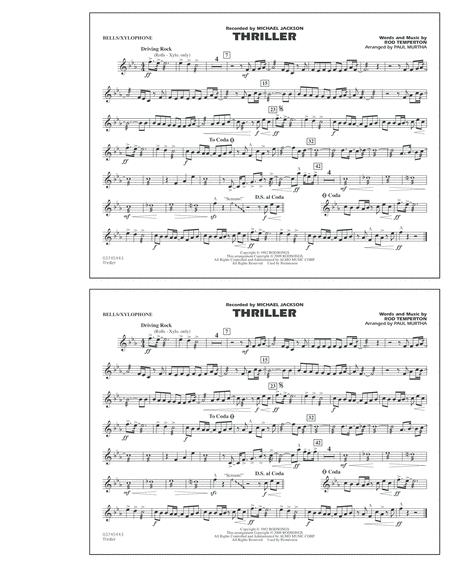 Download Thriller Bellsxylophone Sheet Music By Michael Jackson