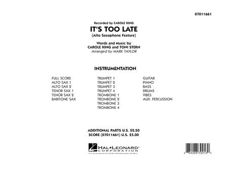 It's Too Late (Alto Saxophone Feature) - Full Score