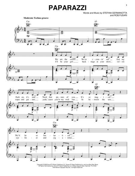 Download Paparazzi Sheet Music By Lady Gaga Sheet Music Plus