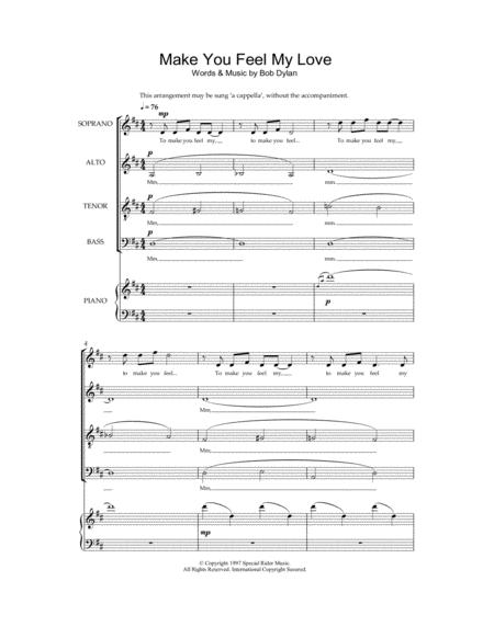 make you feel my love music sheet pdf