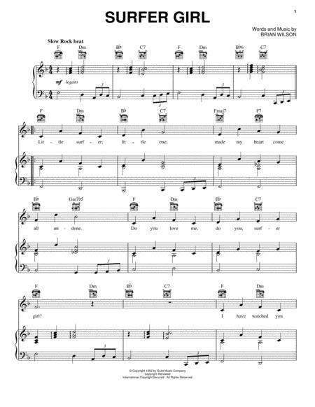 Download Surfer Girl Sheet Music By Brian Wilson Sheet Music Plus