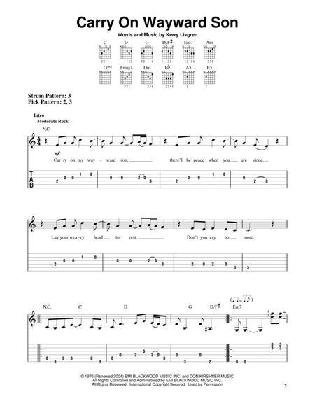 Download Carry On Wayward Son Sheet Music By Kansas - Sheet Music Plus