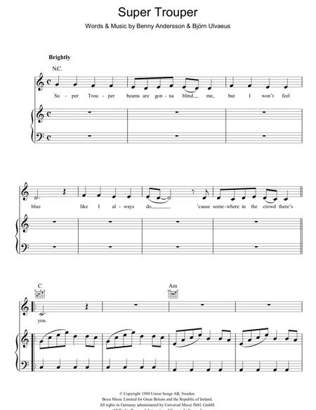 Download Super Trouper Sheet Music By ABBA - Sheet Music Plus