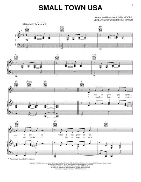Download Small Town Usa Sheet Music By Justin Moore Sheet Music Plus